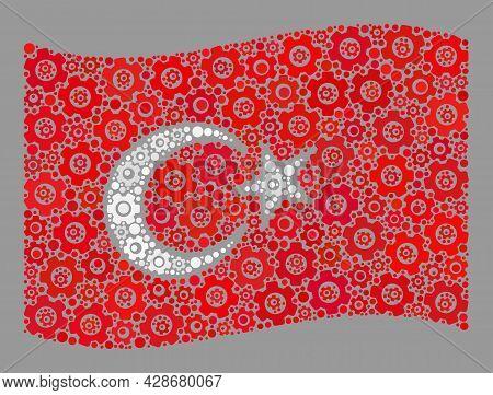 Mosaic Waving Turkey Flag Created With Industry Items. Vector Engine Mosaic Waving Turkey Flag Organ