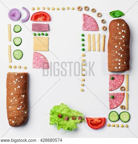 Sandwich Ingredients Pattern. Creative Layout Of Ingredients On White Background. Space For Text. To