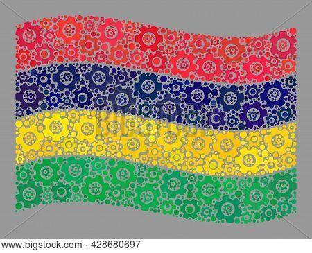 Mosaic Waving Mauritius Flag Designed With Repair Icons. Vector Cog Wheel Collage Waving Mauritius F