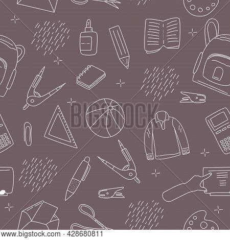 Stationery Seamless Pattern In Doodle Style.back To School Concept With Different Size Diary,open An