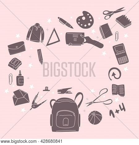 Stationery Set In Doodle Style For Store.back To School Concept With Different Size Diary,open And C