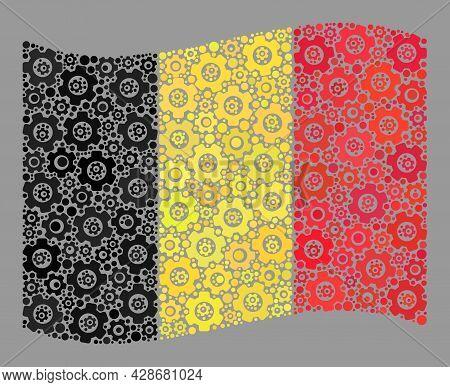 Mosaic Waving Belgium Flag Designed Of Wheel Icons. Vector Gear Wheel Collage Waving Belgium Flag Do