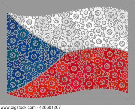Mosaic Waving Czech Flag Constructed Of Gear Items. Vector Gear Wheel Mosaic Waving Czech Flag Const