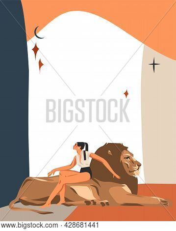 Hand Drawn Vector Abstract Stock Graphic Simple Astrology Celestial Illustration Art With Modern Col