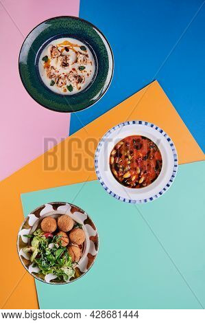 Delicious Food On Colored Background. Lenten Menu. Diet Food. Top View