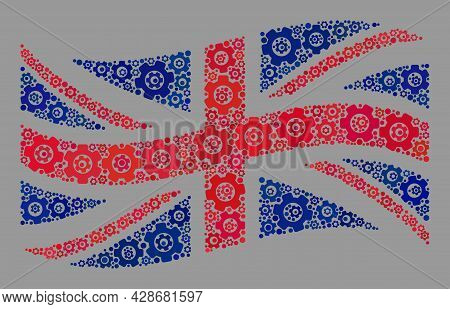 Mosaic Waving Great Britain Flag Created Of Engineering Items. Vector Cog Wheel Collage Waving Great