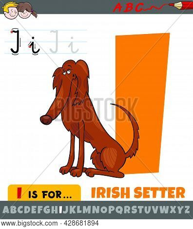 Educational Cartoon Illustration Of Letter I From Alphabet With Irish Setter Dog Character For Child