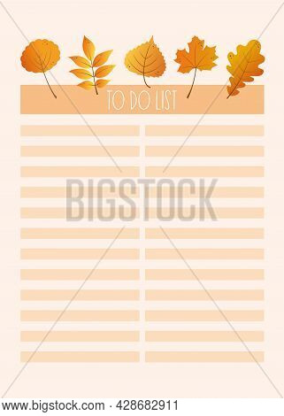Autumn Planner Sheet. Fall To-do List. Planner Insert Or Note Page Template, To Do List, Schedule, T