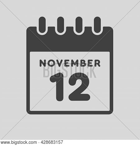 Icon Day Date 12 November, Template Calendar Page