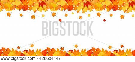 Panoramic Autumn Frame Of Orange And Red Falling Leaves