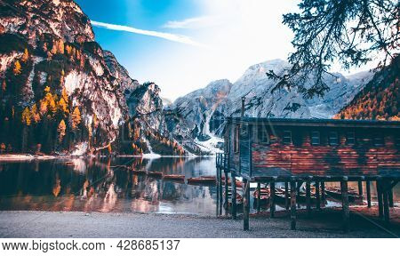 Amazing view of Lago di Braies (Pragser Wildsee), one of the most beautiful lake in South Tirol, Dolomites mountains, Italy. Popular tourist attraction.