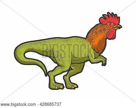 Rooster Headed Tyrannosaurus Dinosaur Bird Color Sketch Engraving Vector Illustration. T-shirt Appar