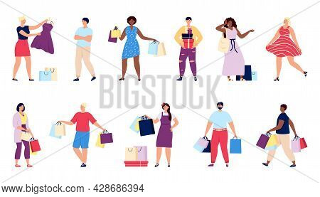 Shopping People. Shop Man, Person Hold Gift Boxes And Bags. Retail Consumer, Shopper With Purchase.