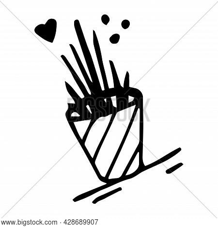 Flower In A Pot, Vector Illustration. Linear Drawing Of A Home Flower. Flower Pot, Home Plants. Vect