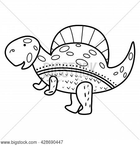 Illustration Dinosaur Spinosaurus In Doodle Style. An Isolated Object On A White Background. An Anim