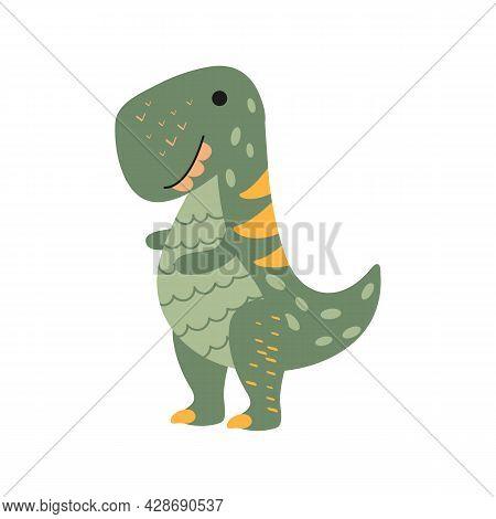 Illustration Dinosaur Tyrannosaur In The Style Of A Cartoon. An Isolated Object On A White Backgroun
