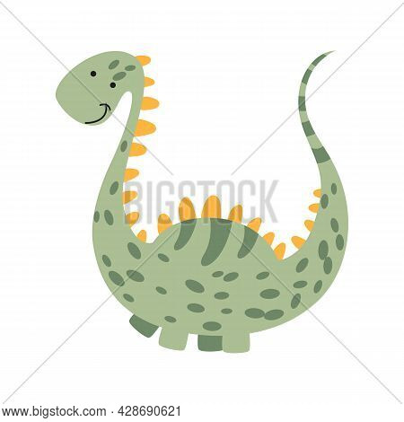 Illustration Dinosaur Diplodocus In The Style Of A Cartoon. An Isolated Object On A White Background
