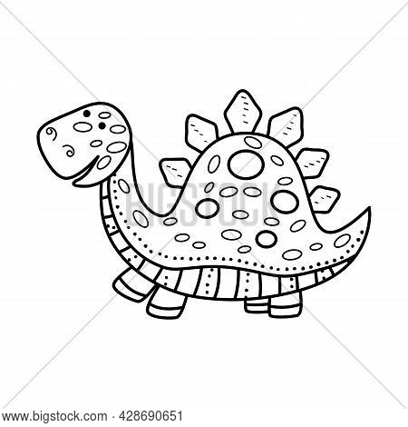 Illustration Dinosaur Stegosaurus In Doodle Style. An Isolated Object On A White Background. An Anim