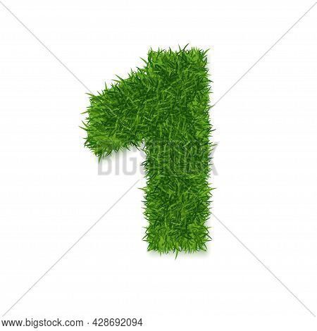 Realistic Detailed 3d Green Grass Number One Symbol Of First Winner Or Success. Vector Illustration