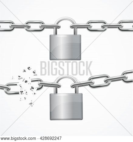 Realistic Detailed 3d Whole And Broken Chain And Lock Set. Vector Illustration Of Padlock And Metall