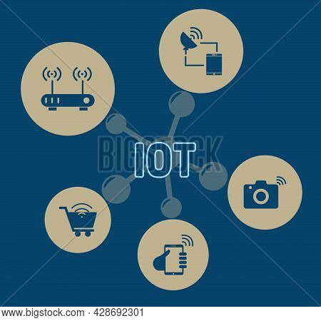 Illustrations Of Text Iot With Simple Icon.internet Of Things - Iot Concept. Businessman Offer Iot P