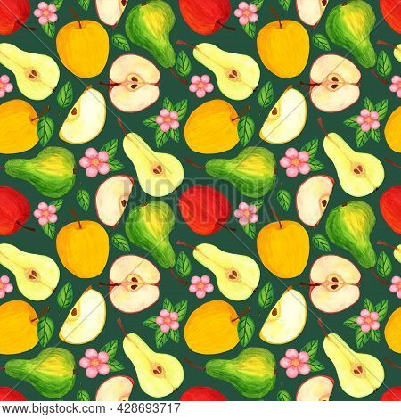 Pear And Apple Fruit With Leaves And Seeds. Fresh Garden Fruit Watercolor Seamless Pattern On Dark G