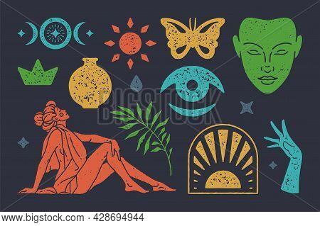 Bohemian Textured Vector Symbols Set. Solar Mystical Gate With Boho Meditative Face. Seated Antique