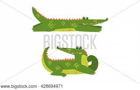 Funny Green Crocodile With Toothy Smile In Lying Pose Vector Set
