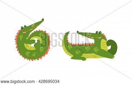 Funny Green Crocodile With Toothy Smile In Lying And Cuddling Pose Vector Set