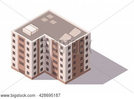 Vector Isometric High Rise Building. City Or Town Map Construction Element. Icon Representing Multi