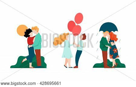 Happy Romantic Couple Embracing Walking Under Umbrella And Kissing Each Other Vector Set