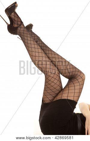 Woman's Legs Black Net In Air