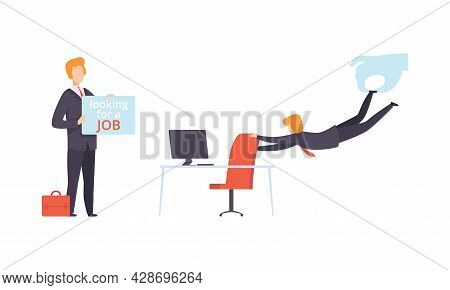 Man Character Searching For Job Standing With Banner And Leaving His Job Place Vector Set