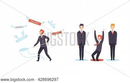 Man Character Searching For Job Standing With Catching Net Vector Set