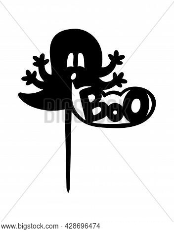 Halloween Ghost Cake Topper With Boo Ready To Cut With A Laser Cutting Machine.