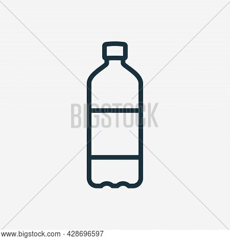 Water Bottle Line Icon. Plastic Bottle For Beverage, Mineral Water, Juice And Soda Linear Icon. Edit
