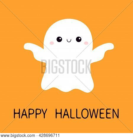 Flying Ghost Spirit With Hands. Happy Halloween. Scary White Ghosts. Cute Cartoon Spooky Character.