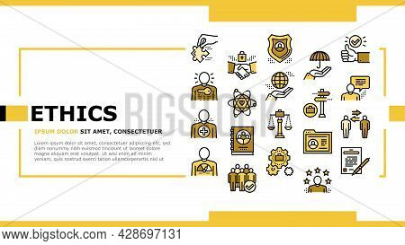 Business Ethics Moral Landing Web Page Header Banner Template Vector. Social Ethics And Partnership,