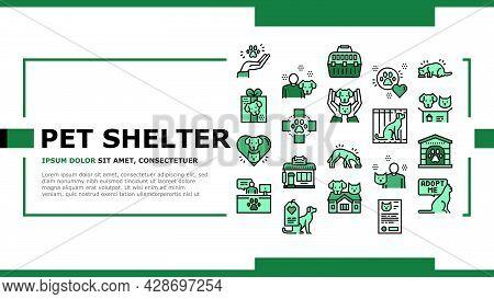 Animal Pet Shelter Landing Web Page Header Banner Template Vector. Pet Shelter Building And Worker,
