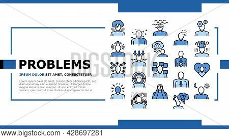 Psychological Problems Landing Web Page Header Banner Template Vector. Depression And Bipolar Disord