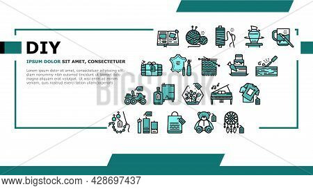 Diy Crafts Handmade Landing Web Page Header Banner Template Vector. Diy Crafts Soap And Clothes, Alc