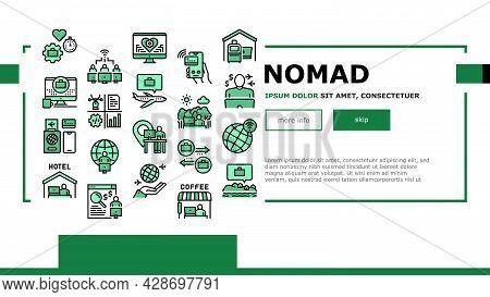 Digital Nomad Worker Landing Web Page Header Banner Template Vector. Freelancer Nomad Remote Work An
