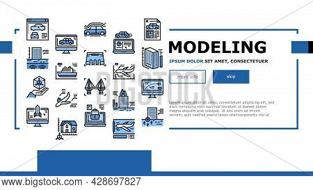 Modeling Engineering Landing Web Page Header Banner Template Vector. Ship And Airplane, Bridge And D