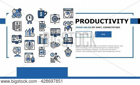 Productivity Manage Landing Web Page Header Banner Template Vector. Energy Drink And Motivation, Wor