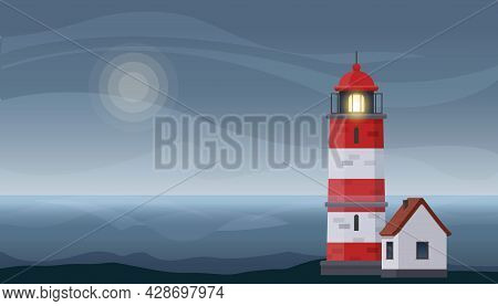 Lighthouse Tower And Small House On Rocky Coast. Beautiful Seascape At Dusk With Lighthouse. Vector