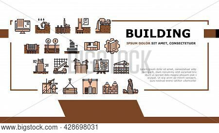 Building Construction Landing Web Page Header Banner Template Vector. Excavation And Footing Reinfor