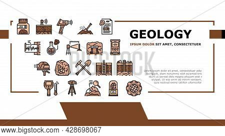 Geology Researching Landing Web Page Header Banner Template Vector. Gyro Theodolite And And Laser Le