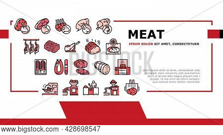 Meat Factory Product Landing Web Page Header Banner Template Vector. Beef And Pork, Chicken And Rabb