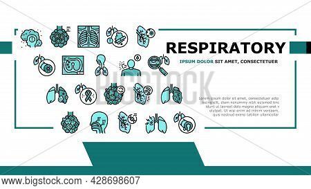 Respiratory Disease Landing Web Page Header Banner Template Vector. Lungs Infection, Asthma And Tube