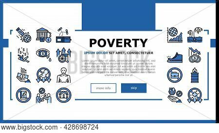 Poverty Destitution Landing Web Page Header Banner Template Vector. Lost Job And House, Miscarriage